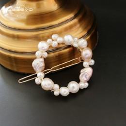 GLSEEVO ręcznie robione naturalne wody słodkiej perła okrągły klips do włosów okrągły akcesoria do włosów biżuteria ślubna Pince