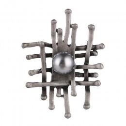 Retro nieregularne ogrodzenia broszka szpilki i broszki dla kobiet broszka Pin kamień naturalny obsydian dekoracji szalik klip u