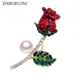 ZHBORUINI wysokiej jakości naturalna perła słodkowodna broszka perła kwiat róża broszka złoty kolor biżuteria z pereł dla kobiet