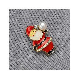 ASHIQI naturalna perła słodkowodna przycisk broszka emalia czerwony święty mikołaj codziennie supoplies plecak Denim koszula Pin