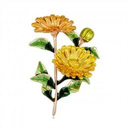 Romantyczna roślina Daisy broszka kwiat bukiet liści Pin do dekoracji broszka emalia Pin konferencyjne strona biżuteria prezent