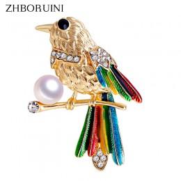 ZHBORUINI 2019 naturalne perły broszka ptak papuga perła Breastpin słodkowodne perły biżuteria dla kobiet boże narodzenie akceso