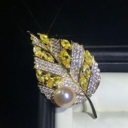 ZHBORUINI wysokiej jakości naturalna perła słodkowodna broszka chiński styl żółty cyrkon liść broszka Pearl biżuteria dla kobiet