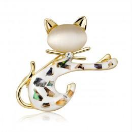 Śliczne kryształ zwierząt kot broszka Pins kotek szpilki i broszki dla kobiet powłoki Craft szalik hidżab Pin kot broszka biżute