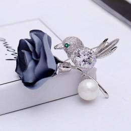 Czerwone drzewa marka wysokiej jakości ptak i kwiat tkaniny broszka dla kobiet wesele w Box pakiet odzież zimowa akcesoria