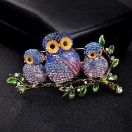 Czerwony drzewa marka sowa kształt emalia broszka ptak z kryształ wysokiej jakości bezpieczeństwa Pin broszka w pudełku