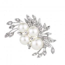 Elegancka broszka kwiaty perły kryształki górskie kwiaty