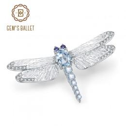 GEM'S balet 1.41Ct naturalne błękitny Topaz broszka 925 Sterling silver ręcznie projekt Dragonfly broszki dla kobiet w porządku
