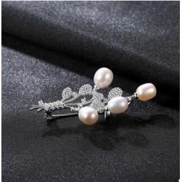 [MeibaPJ] Luxourious prawdziwe naturalne perły balony broszka S925 z litego srebra Breastpin Fine Jewelry dla kobiet