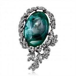 Nowy Antique srebrny kwiat broszki z kamienia naturalnego broszka dla kobiet kryształowe szpilki duży kamień broszka bukiety do