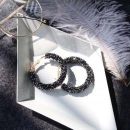 2018 nowy moda Bling Bling Hoop kolczyki dla kobiet błyszczące kryształowe Hollow okrągłe koło biżuteria na uszy na prezent na ś