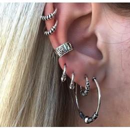 E0263 czeski styl srebrny kolor zestaw kolczyków w stylu Punk w stylu Vintage Hoop kolczyki klip ucha dla kobiet 7 sztuk/zestaw