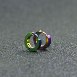 Kolczyki małe kółka srebrny złoty 316L ze stali nierdzewnej Hoop kolczyk dla kobiet mężczyzn kolczyki klip kolorowe koło kolczyk