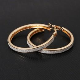 W stylu Vintage złoty kolor duże okrągłe kolczyki koła dla kobiet dziewczyna ucha klip kryształ mody kolczyk Party prezent akces