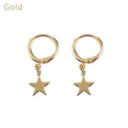 1 para Trendy złoty kolor mała gwiazda małe księżyc Charms Hoop kolczyki dla kobiet 2018 kolczyki do uszu prosta biżuteria preze