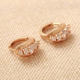ZOSHI marka Vintage złote kolczyki kołowe biżuteria ślubna ucha kolczyki dla kobiet w sprzedaży hurtowej wyczyść CZ kryształowe