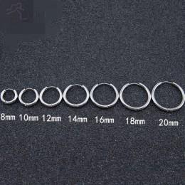 AOMU 1 para kolczyki małe kółka srebrny koło ze stali nierdzewnej Hoop kolczyk dla kobiet mężczyzn kolczyki klip Huggie kolczyki