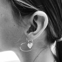 Podwójne serce duże okrągłe kolczyki koła dla kobiet modne srebrne