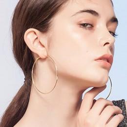 1 para duże koło gładkie 5 cm 10 cm złoto srebro ucha metalowe duże obręcz do koszykówki kolczyki kobiety