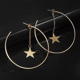 Proste kolczyki dla kobiet Hollow okrągły koło kolczyki z gwiazdą urządzone kolczyki złoty kolor ucha biżuteria hurtowych