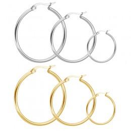Duże okrągłe kolczyki przesadzone ze stali nierdzewnej złoty kolor modny damski amulet kolczyk kolczyki biżuteria Lady Boucles d