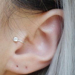 Najwyższej jakości 6 MM AAA Cezch cyrkon srebrny wypełniony Tragus kolczyki dla kobiet, nie Piercing klip kolczyk Punk Ear Cuff