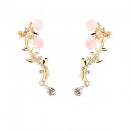 2018 nowy 2 sztuk elegancki kwiat kształt Rhinestone lewego ucha spinki do mankietów złoty i srebrny kolor Boho kolczyk Ear Stud