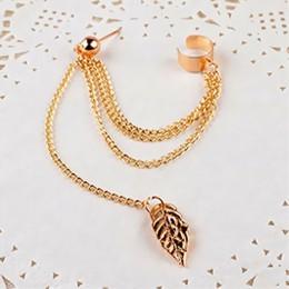 1 sztuk metalowe klip ucha liść Tassel kolczyki dla kobiet biżuteria z nausznikami złoto srebro kolor Vintage klip kolczyk Brinc