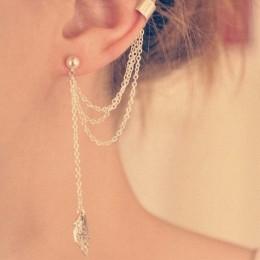 Osobowość liść Tassel klipsy dla kobiet Ear Cuff Bijoux złoto srebro kolor Punk kolczyki Pendientes biżuteria prezent EB667