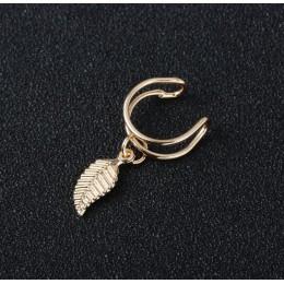 Ear Cuff Wrap kolczyki liście biżuteria Piercing klip na kolczyki trójkąt chrząstka klip Diy ustawienia czarny kolor e0479