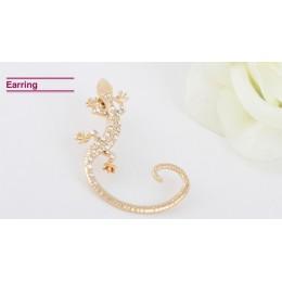 Jiao Yu Gothic Punk kryształowa jaszczurka ucha mankiety dla kobiet złoty kolor srebrne z kryształem górskim zwierząt gekony kli