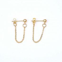 LWONG 4mm złoty kolor piłka łańcuch kolczyki kolczyki dla kobiet minimalistyczny kolczyki do uszu kolczyki prosty cienki łańcusz