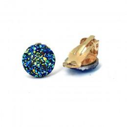 Złote klipsy do uszu kolczyki dla kobiet biżuteria niebieski biały okrągły