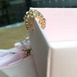 Błyszczące wdzięku kobiety Lady moda srebrny złoty kryształ Rhinestone Ear Cuff Wrap chrząstki klip kolczyk