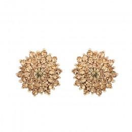 FLOLA moda kobiety klipsy bez Piercing okrągły złoty klip na kolczyki dla kobiet kryształ klip uszy dżetów ersh14