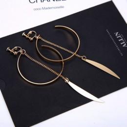 Otwarte koło ucha spinki do mankietów kobiet duży łuk wisiorek długi klip na kolczyki dla kobiet dziewczyny chrząstki biżuteria