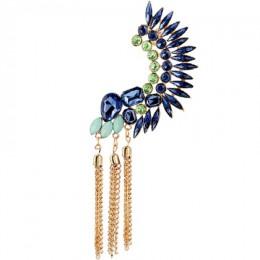 SHEEGIOR Boho długie frędzle ucha nausznica Bijoux Femme złote łańcuchy Rhinestone duże klipsy dla kobiet modna biżuteria na pre