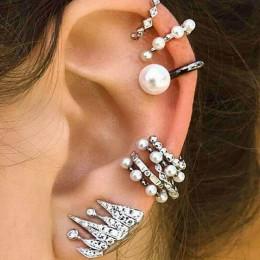 9 sztuk Boho ucha mankiet Brincos symulowane Pearl ucha klipsy zestaw kobiet oświadczenie czechy kryształ Ear Cartilag kolczyki