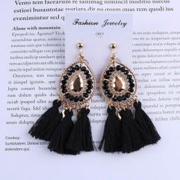Nowy nabytek Tassel klip na kolczyki bez Piercing Bohemia biżuteria modna bawełna Rope Fringe klip ucha dla kobiet Party