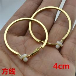 Duże kółko złoto srebro plac linii okrągły klip na ucha kolczyki Hoop dla kobiet z poduszka bez przekłuwania moda