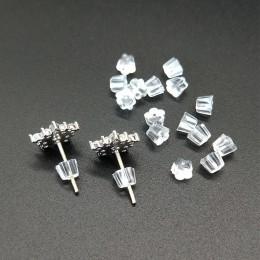 100 sztuk Plum kształt jasne miękkie gumy silikonowej kolczyk z tyłu wtyczka Cap haki korki Ear Post Nuts DIY biżuteria kolczyk