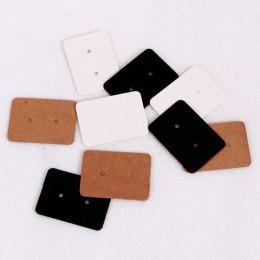 100 sztuk 2.5x3.5 cm papier typu Kraft kolczyk karty powiesić Tag biżuteria wyświetlacz Ear Stud karty Favor etykieta biały czar