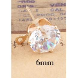 10 sztuk złoto srebro kolor 6/8/10mm cyrkon kryształ Ear Stud ustalenia z otworem ucha spadek kobiety dziewczyna Diy kolczyki Br