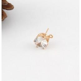 10 sztuk 8mm złoty kolor srebrny błyszczące cyrkon kryształ Ear Stud ustalenia z otworem ucha spadek kobiety dziewczyna Diy kolc