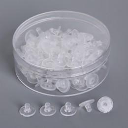 100 sztuk/partia DIY kolczyki akcesoria guma powrót silikonowe okrągłe zatyczki do uszu zablokowane plastikowe kolczyk powrót ko