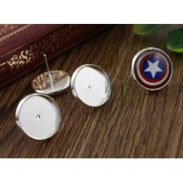 12mm 50 sztuk/partia moda 7 kolory pozłacane mosiądz miedź materiał kolczyki ćwieki (z zatyczką do uszu) kolczyki bazy, fit 12mm