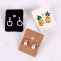 100 sztuk 3.8*4.8 cm papier typu Kraft kolczyki do uszu karty powiesić Tag biżuteria wyświetlacz kolczyk Crads za etykieta biały