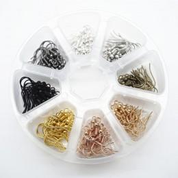 160 sztuk francuski haki cewki ucha przewody z pudełkiem DIY kolczyk znalezienie akcesoria do wyrobu biżuterii 8 kolorów każdy k