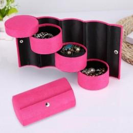 Moda składany flanelowe Cylinder biżuteria pudełko do przechowywania przenośny 3 warstwy Choker pierścień uszy naszyjnik organiz
