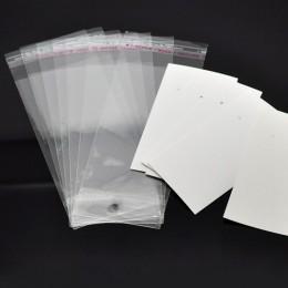 DoreenBeads 15 zestawów zaczepy na ucho kolczyk wyświetlacz karty 9 cm x 5 cm W/torebeczki samoprzylepne 15 cm x 6 cm